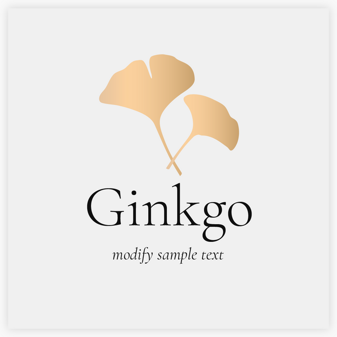 Gold Ginkgo Leaf Premade Logo by Maura Reed - Logo Evolution