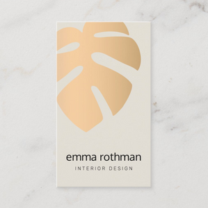 Rose Gold Monstera Leaf Business Card - Logo Evolution, Maura Reed
