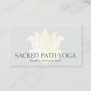 Gold Lotus -Business Yoga Teacher  card  Logo Evolution by Maura Reed