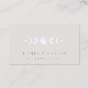 Yoga meditation Teacher, Spiritual Coach, Moon Phase, moonphase  Business card - Logo Evolution, Maura Reed