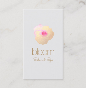 Artistic Watercolor Gold Flower Beauty Salon Spa Business Card  - Logo Evolution - Maura Reed