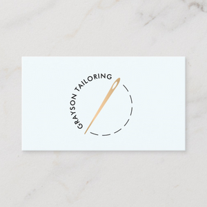 Gold Sewing Needle Seamstress, Tailor Business Card  - Logo Evolution by Maura Reed