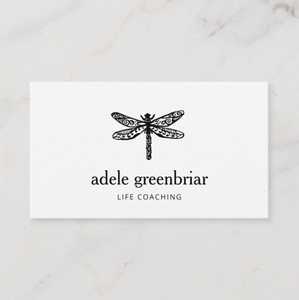 UNique Artistic Black and  White  Dragonfly  Logo Business card - Logo Evolution by Maura Reed