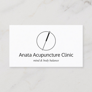 Acupuncture Acupuncturist Needle Logo Business card by Maura Reed - Logo Evolution
