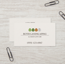 Four Seasons Tree Landscaping, Lawn Care  Service  Business Card - Logo Evolution