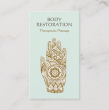 Henna Lotus Hand Massage Therapist Business Card Logo - Logo Evolution, Maura reed