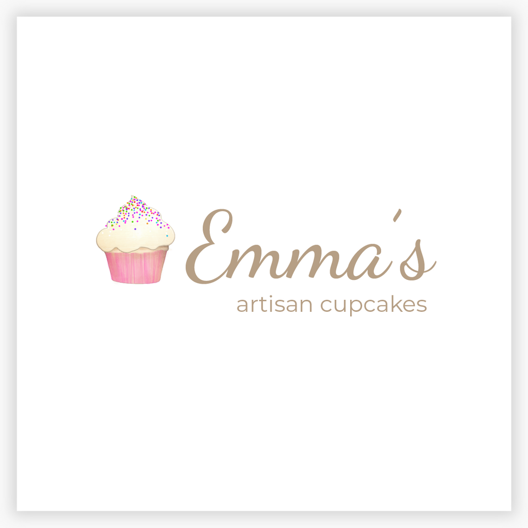 Cupcake Drawing with Sprinkles  Premade Logo - Logo Evolution, Maura Reed