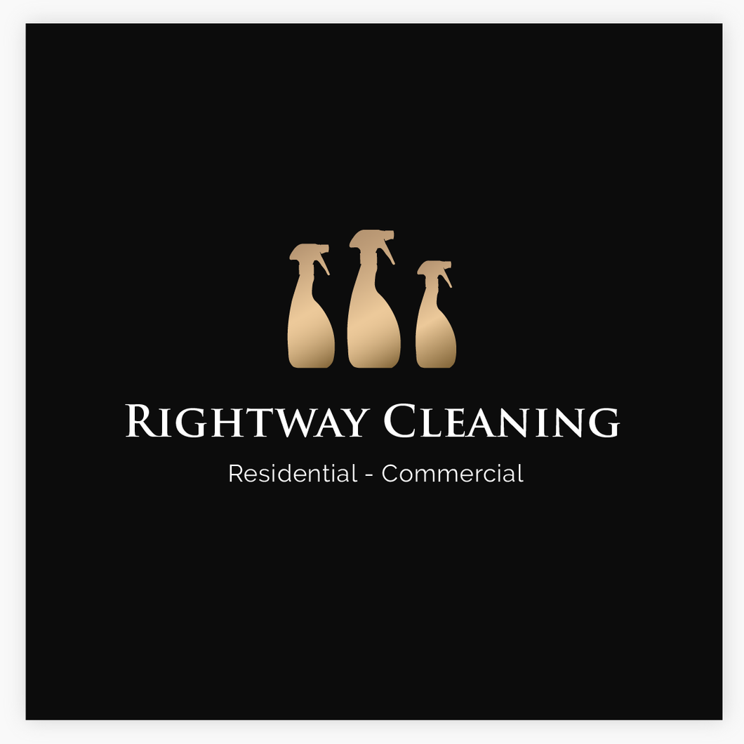 Gold Cleaning Service Spray Bottles Premade Logo - Logo Evolution - Maura Reed
