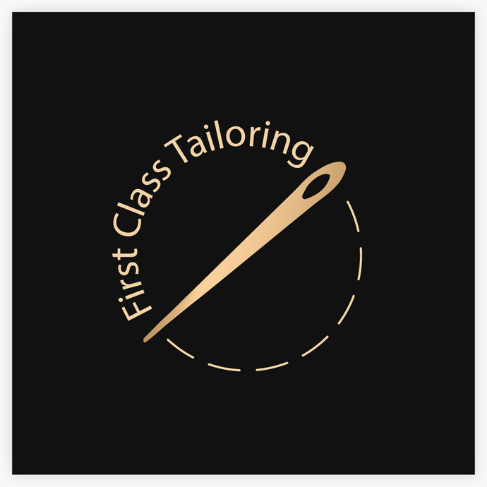Gold Sewing Tailor Seamstress Needle Logo  by Maura Reed- Logo Evolution