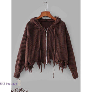 Zipper Fly Frayed Hooded Sweater