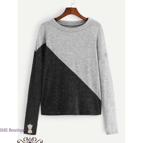 Contrast Panel Sweater