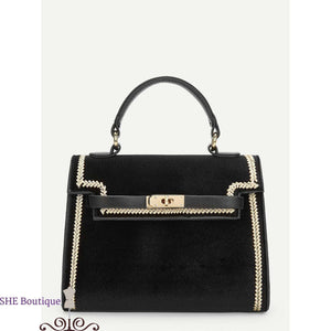 Embroidery Detail Twist Lock Satchel Bag