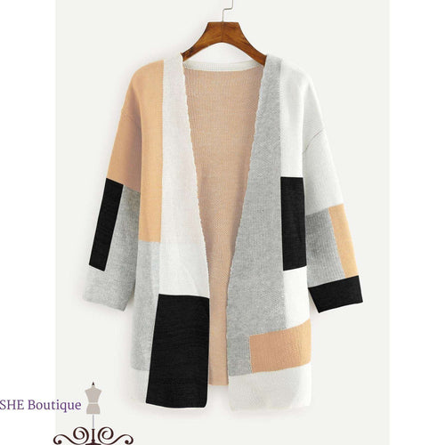 Colorblock Open Front Sweater Cardigan SHE Boutique Cardigans