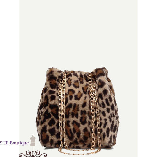 Leopard Pattern Chain Tote Bag