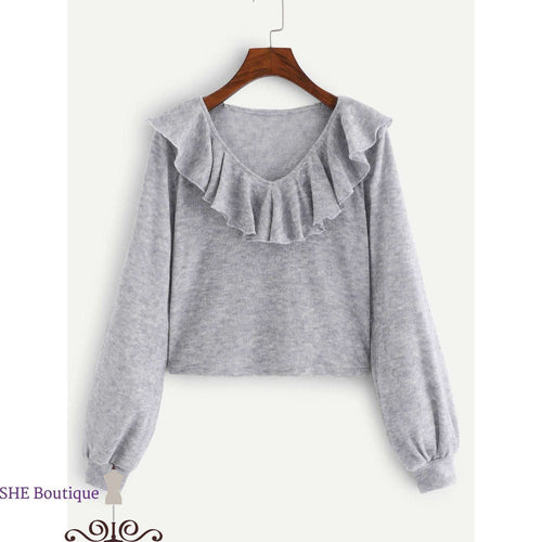 Ruffle Decoration Solid Sweater