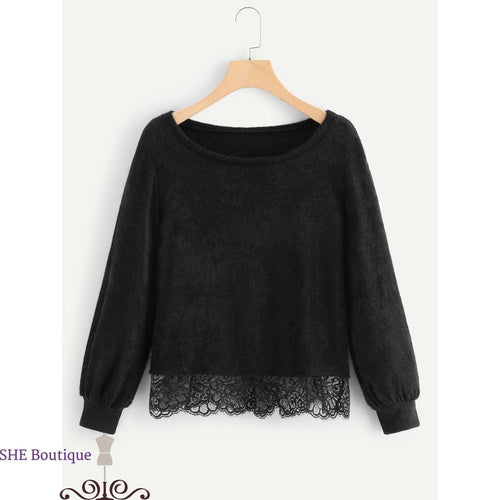 Contrast Lace Solid Sweater