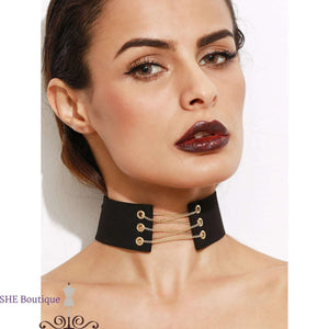 Metal Chain Tie Back Wide Choker Necklace