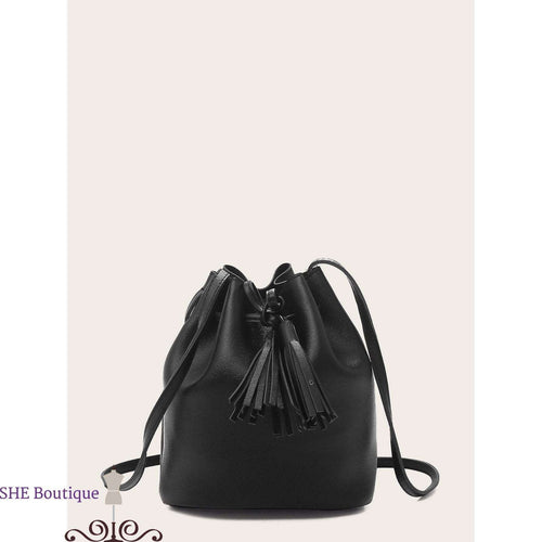Tassel Decor Bucket Bag With Drawstring