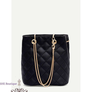 Quilted Detail Chain Tote Bag