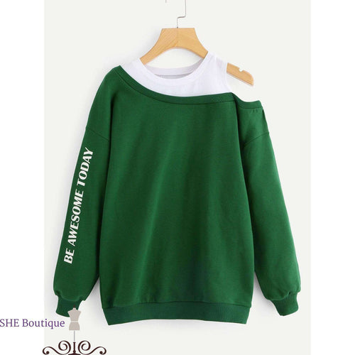 2 In 1 Open Shoulder Sweatshirt