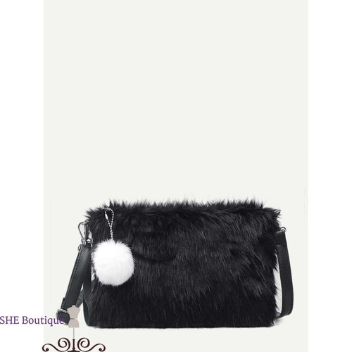 Pom Pom Decor Fluffy Bag