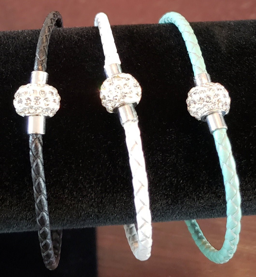 Braid Bracelet with Silver Crystal Gem
