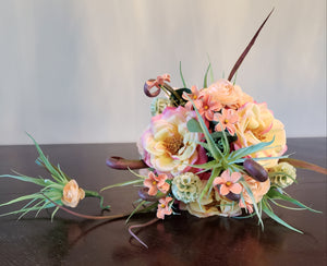 Peach Wild Flower Bouquet & Bouttonier