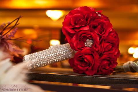 Red Roses with Crystal Bouquet Holder