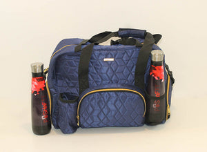 GRAB IT & GO FITNESS TRAVEL DUFFEL BAG- BLUE QUILTED OUTER