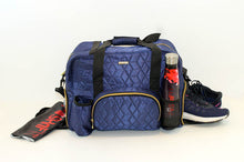 Load image into Gallery viewer, GRAB IT & GO FITNESS TRAVEL DUFFEL BAG- BLUE QUILTED OUTER
