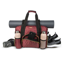 Load image into Gallery viewer, GRAB IT & GO FITNESS TRAVEL DUFFEL BAG- WINE COLORED QUILTED OUTER