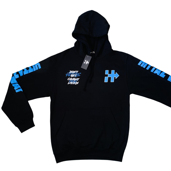 """YOU RIDING OR HIDING"" BLACK/YZ BLUE HOODIE"