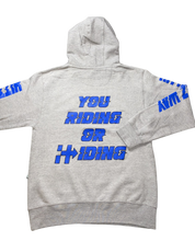 Load image into Gallery viewer, RIDING OR HIDING HOODIE (GREY/ROYAL BLUE)