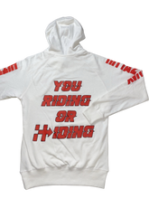 Load image into Gallery viewer, RIDING OR HIDING HOODIE (WHITE/RED)