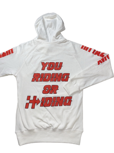 RIDING OR HIDING HOODIE (WHITE/RED)