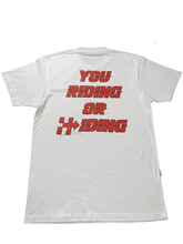 Load image into Gallery viewer, RIDING OR HIDING TEE (WHITE/RED)