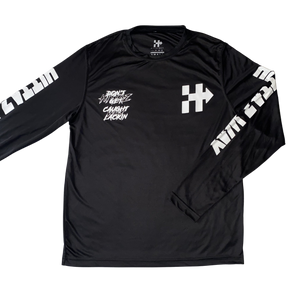 RIDING OR HIDING DRI-FIT BLACK WHITE LONG SLEEVE