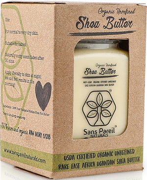 Organic Unrefined Shea Butter in box and jar packaging