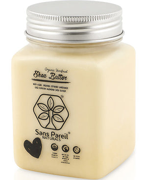 Jar of Organic, all natural, raw, unrefined shea butter - from Sans Pareil Naturals