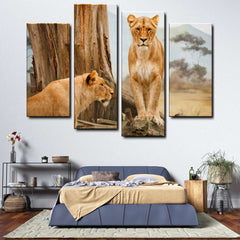 Lion 4-Piece Canvas Wall Art Set