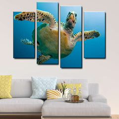 Underwater Life 4-Piece Canvas Wall Art Set