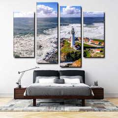 Pacific Coastline Lighthouse At California 4-Piece Canvas Wall Art Set