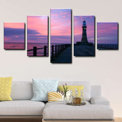 Lighthouse Sunrise Sky Rising Sun Sunderland Pier 5-Piece Canvas Wall Art Set