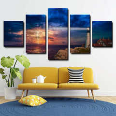 Lightning Near Lighthouse 5-Piece Canvas Wall Art Set