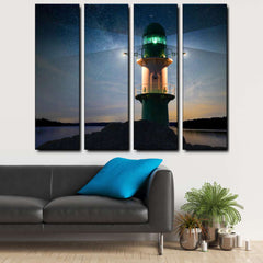 Lighthouse And Starry Sky 4-Piece Canvas Wall Art Set