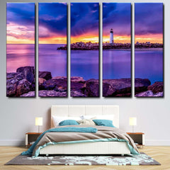 Lighthouse At Santa Cruz, California 5-Piece Canvas Wall Art Set