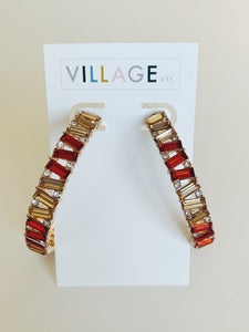 Helsinki Earring Collection: Red and Gold Hoops