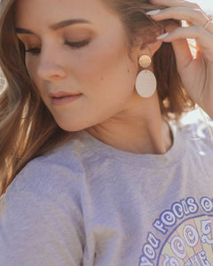 Mojave Desert Handmade Earring Collection: White and Gold Discs