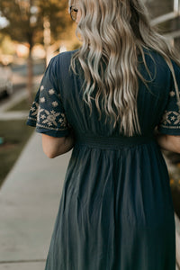 Southpark Embroidered Dress in Slate Teal