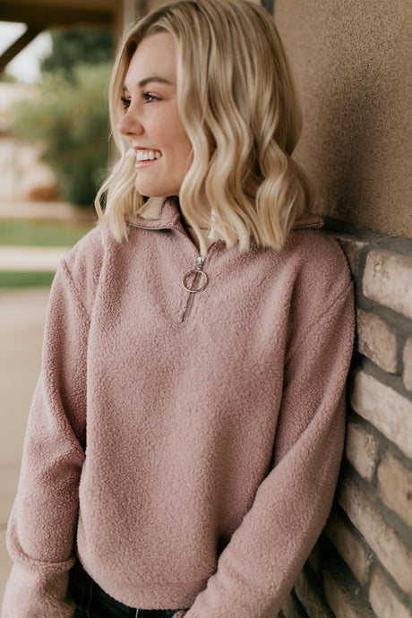 Syracuse Dusty Pink Sherpa Pullover